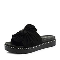 Teenmix/天美意2018夏专柜同款黑色羊绒皮蝴蝶结厚底女拖鞋AR541BT8