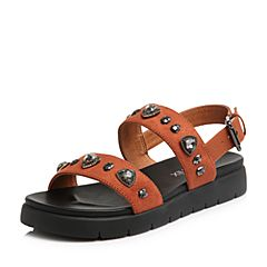 Teenmix/天美意2018夏专柜同款焦糖色纺织品/牛皮一字带平跟女凉鞋AR441BL8