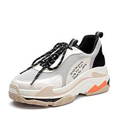 Teenmix/天美意2018春专柜同款米白/灰色牛皮/纺织品厚底街头风女休闲鞋AR571AM8