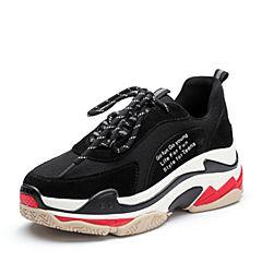 Teenmix/天美意2018春专柜同款黑色牛剖层皮/纺织品厚底街头风女休闲鞋AR571AM8
