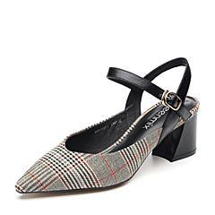 Teenmix/天美意2018夏黑/黑红色纺织品/牛皮革通勤风格纹粗跟女凉鞋88019BH8