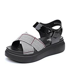 Teenmix/天美意2018夏黑色纺织舒适厚底女凉鞋91060BL8