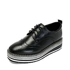 Teenmix/天美意2018秋专柜同款黑色打蜡牛皮革英伦布洛克风厚底系带鞋女单鞋CFM20CM8