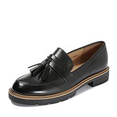 Teenmix/天美意2018秋专柜同款黑色打蜡牛皮革流苏方跟乐福鞋女单鞋6T301CQ8