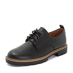 Teenmix/天美意2018秋专柜同款黑色擦色牛皮革方跟系带鞋女单鞋6T323CM8