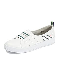 Teenmix/天美意2018秋专柜同款白色牛皮革松紧带平跟小白鞋女休闲鞋CE602CQ8