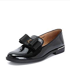 Teenmix/天美意2018秋专柜同款黑色漆皮蝴蝶结方跟乐福鞋女单鞋CBQ07CQ8