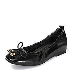Teenmix/天美意2018秋专柜同款黑色漆皮蝴蝶结奶奶鞋浅口女单鞋CDJ03CQ8