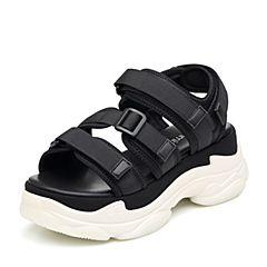 Teenmix/天美意2018夏黑色纺织品多条带厚底运动风魔术贴女凉鞋18601BL8(领红包更优惠)