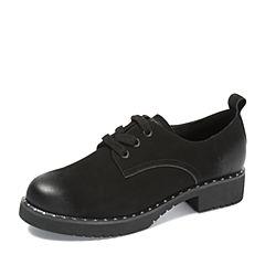 Teenmix/天美意2018秋专柜同款黑色牛皮革潮酷铆钉方跟女单鞋AS031CM8