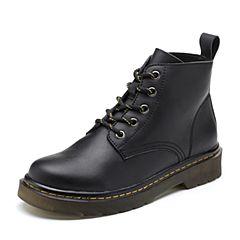 Teenmix/天美意2018冬黑色擦色牛皮革街头风方跟马丁靴女短靴66607DD8