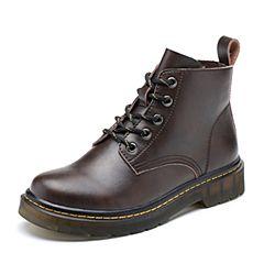 Teenmix/天美意2018冬棕色擦色牛皮革街头风方跟马丁靴女短靴66607DD8