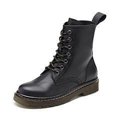 Teenmix/天美意2018冬黑色擦色牛皮革舒适方跟马丁靴女短靴66608DD8