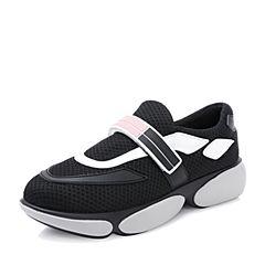 Teenmix/天美意2018秋黑色时尚撞色厚底运动风魔术贴女休闲鞋18003CM8