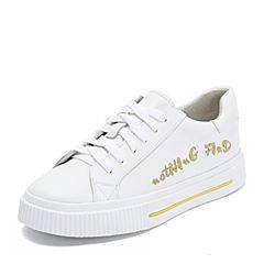 Teenmix/天美意2018秋专柜同款白色牛皮革字母平跟小白鞋女休闲鞋CGU20CM8