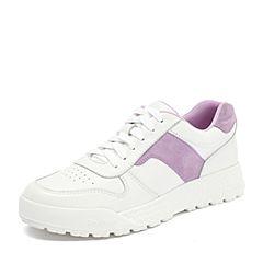 Teenmix/天美意2018秋专柜同款米白/紫色牛皮革/羊皮革撞色厚底小白鞋女休闲鞋AS181CM8