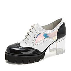 Teenmix/天美意2018秋商场同款黑/白/兰色幻彩撞色透明粗高跟女单鞋6N425CM8