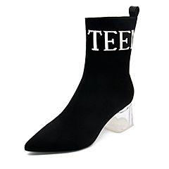 Teenmix/天美意2018冬黑色纺织品尖头字母透明粗高跟女短靴HL11ADD8