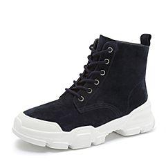 Teenmix/天美意2018冬宝蓝色猪皮革街头休闲风平跟马丁靴女短靴18403DD8