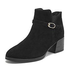 Teenmix/天美意冬商场同款黑色羊绒皮革皮带扣优雅粗跟女短靴CHD40DD8