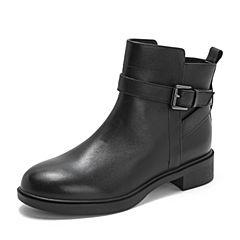 Teenmix/天美意2018冬商场同款黑色牛皮革皮带扣方跟女短靴CBE49DD8