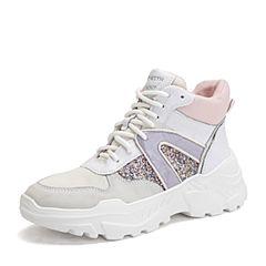 Teenmix/天美意2018冬商场同款白/米白色撞色厚底运动风女休闲靴CG340DD8