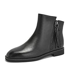 Teenmix/天美意2018冬商场同款黑色牛皮革方跟流苏靴女短靴CGA42DD8