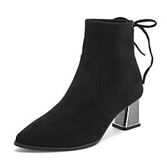 Teenmix/天美意2018冬商场同款黑色弹力布通勤风粗高跟女短靴CFI40DD8