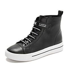 Teenmix/天美意2018冬专柜同款黑色牛皮革平跟魔术贴女休闲靴CGN42DD8