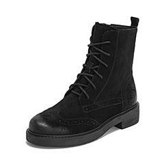 Teenmix/天美意2018冬商场同款黑色剖层牛皮革舒适方跟马丁靴女短靴CF160DZ8