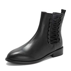 Teenmix/天美意2018冬专柜同款黑色牛皮革镂空绑带方跟女短靴CA541DD8