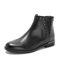 Teenmix/天美意2018冬专柜同款黑色打蜡牛皮革方跟切尔西靴女短靴CBQ42DD8