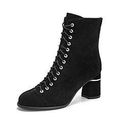 Teenmix/天美意2018冬商场同款黑色羊绒皮革粗高跟时装靴女短靴CGH40DD8