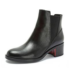 Teenmix/天美意2018冬黑色牛皮革通勤风粗跟切尔西靴女短靴CG142DD8