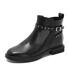 Teenmix/天美意2018冬黑色牛皮革铆钉皮带扣舒适方跟女短靴TS182DD8