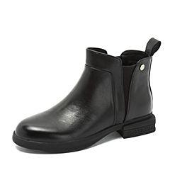 Teenmix/天美意2018冬黑色牛皮革通勤风方跟切尔西靴女短靴TS181DD8