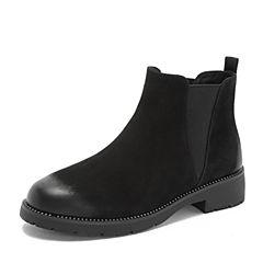 Teenmix/天美意2018冬黑色磨砂牛皮革铆钉方跟切尔西靴女短靴(绒里)XH016DD8