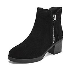 Teenmix/天美意2018冬商场同款黑色牛剖层皮革通勤风粗高跟女短靴(绒里)AS421DD8