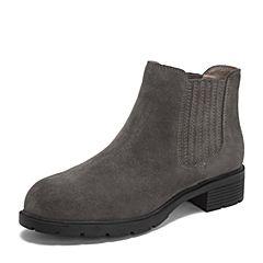 Teenmix/天美意2018冬商场同款灰色牛剖层皮革方跟切尔西靴女短靴AS381DD8