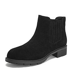Teenmix/天美意2018冬商场同款黑色牛剖层皮革方跟切尔西靴女短靴AS381DD8