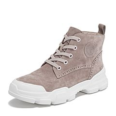 Teenmix/天美意2018冬商场同款肉粉色猪皮革厚底马丁靴女短靴AS371DD8