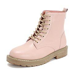 Teenmix/天美意2018冬商场同款粉色牛皮革方跟马丁靴女短靴AS521DD8