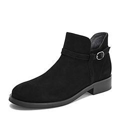 Teenmix/天美意冬商场同款黑色羊绒皮革舒适方跟女短靴AS531DD8