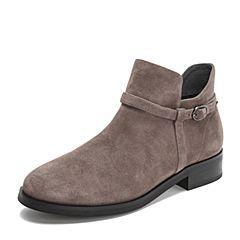 Teenmix/天美意冬商场同款灰色羊绒皮革舒适方跟女短靴AS531DD8