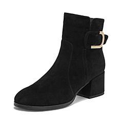 Teenmix/天美意2018冬商场同款黑色羊绒皮革通勤风粗跟女短靴(绒里)AS801DD8