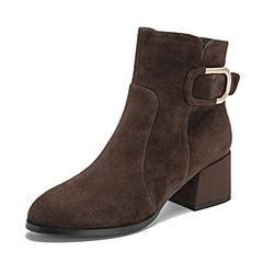 Teenmix/天美意2018冬商场同款咖啡色羊绒皮革通勤风粗跟女短靴AS801DD8
