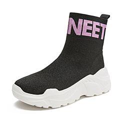 Teenmix/天美意2018冬商场同款黑色纺织品字母厚底袜靴女休闲靴AS651DD8