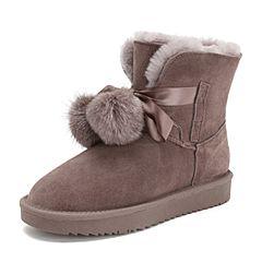 Teenmix/天美意2018冬商场同款豆沙色牛剖层皮革平跟毛球雪地靴女休闲靴AS901DD8