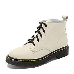 Teenmix/天美意2018冬白色牛皮革休闲风方跟马丁靴女短靴H7208DD8
