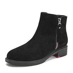 Teenmix/天美意2018冬商场同款黑色牛剖层革舒适方跟女短靴(绒里)AT031DD8